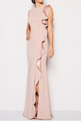 Carmen Marc Valvo Blush Dusty Rose Ruffle Slit Formal Evening Gown