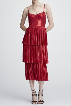 Red Sleeveless Pleated Lame Midi Tea Dress