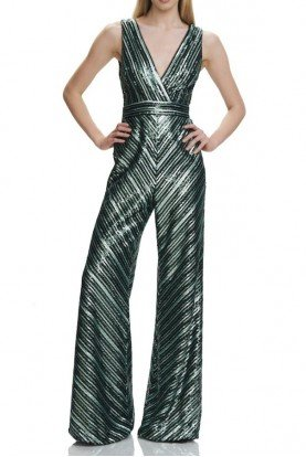 theia Ivy Colour Sleeveless Sequin V Neck Jumpsuit