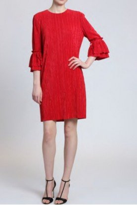 Badgley Mischka Red Pleated Sack Dress with Bell Sleeves