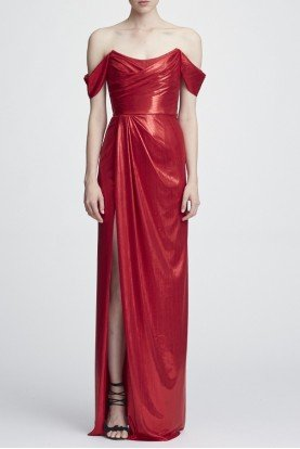 Marchesa Notte Red Off the Shoulder Draped Lame Gown