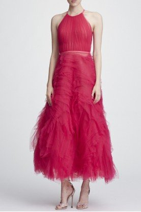 Berry Pink Sleeveless Textured Tulle Midi Dress