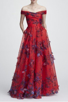 Marchesa Notte Red Off the Shoulder Organza Evening Ball Gown
