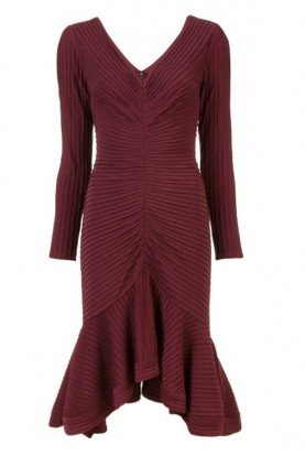 Tadashi Shoji Wine Red Long Sleeve Ribbed Hi Lo Dress