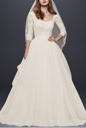 Oleg Cassini White A Line Organza Sleeved Wedding Dress