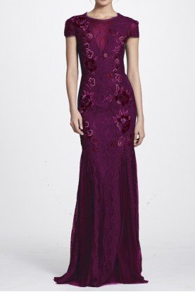 Wine Short Sleeve Lace Floral Embroidered Gown