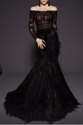 Fouad Sarkis Couture Black Off Shoulder Long Sleeve Gown