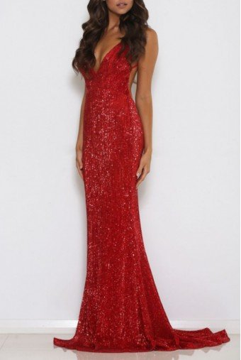 Abyss by Abby Jilah Red Sequin Open Back Evening Gown Prom Dress