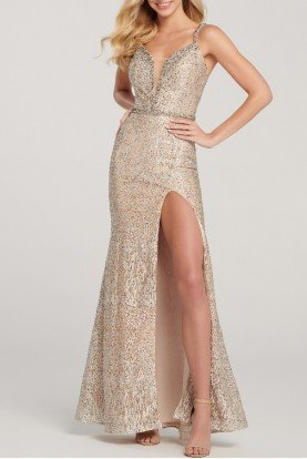 ellie wilde EW119079 Gold Champagne Embroidered Evening Gown