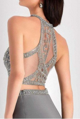 S3006 Crystal Embroidered Halter Two Piece Dress