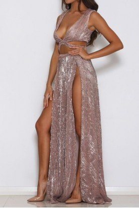 Rose Gold Sequined  Mia Dress Gown