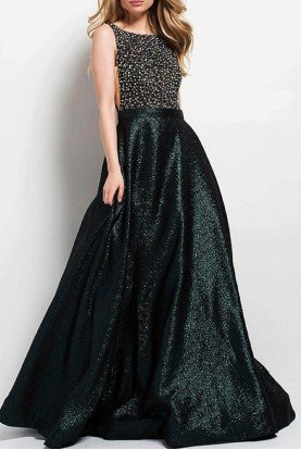 49220 Dark Green Sleeveless Embellished ALine Gown