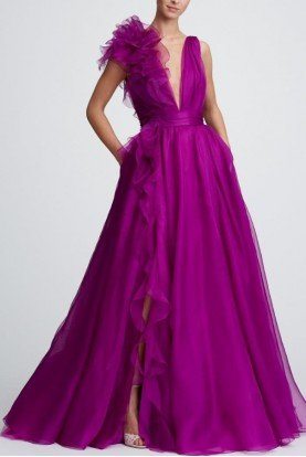 Marchesa Plunging V Neck Orchid Silk Organza Evening Gown