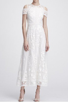 N27C0768 Ivory Short Sleeve Lace Midi Tea Dress