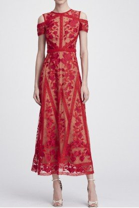 Marchesa Notte Red Short Sleeve Guipure Lace Midi Dress N27C0768
