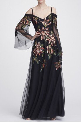Marchesa Notte Black Long Sleeve Embroidered Tulle Gown