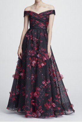 Black Off the Shoulder A Line Organza Evening Gown