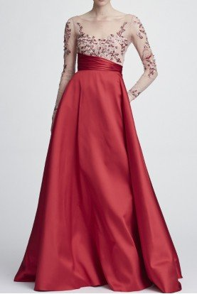 Red Long Sleeve Mikado Ball Gown