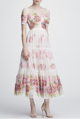 Ivory Floral Short Sleeve Midi Tea Dress