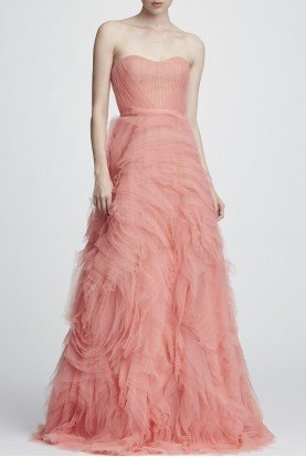 Marchesa Notte Coral Strapless Corset Bodice Textured Tulle Gown