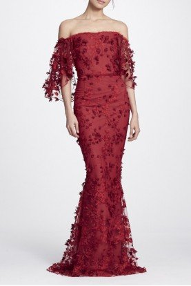 Red Embroidered Off the Shoulder Gown N24G0658