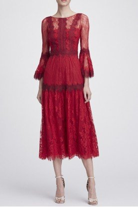 Red Long Sleeve Mixed Lace Midi Tea Dress