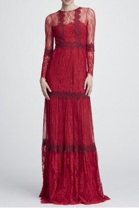 Marchesa Notte Red Long Sleeve Mixed Lace Flared Dress N27G0744