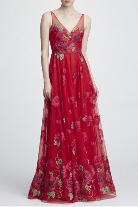 Sleeveless Floral V Neck Gown Long Flared Dress
