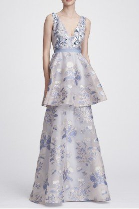 Light Blue Sleeveless Floral Tiered Gown N28G0732