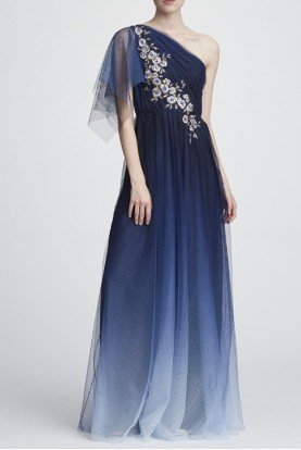 Marchesa Notte One Shoulder Embroidered Ombre Tulle Gown N28G0808