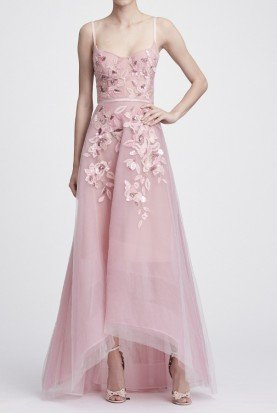 Sleeveless Beaded Embroidered Hi Lo Gown N28G0742