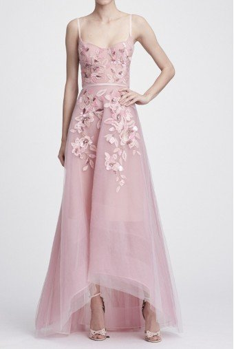 Marchesa Notte Sleeveless Beaded Embroidered Hi Lo Gown N28G0742