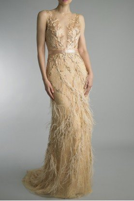 Champagne Gold Embroidered Evening Gown w Feathers