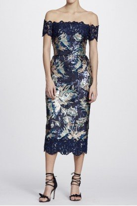 Marchesa Notte Navy Off Shoulder Sequined Peony Midi Tea Dress