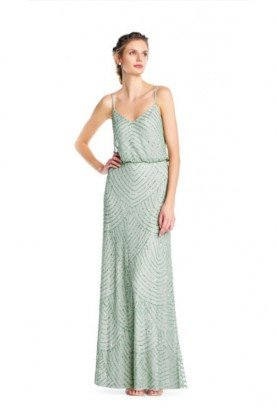 Beaded blouson Gown Bridesmaid Mint Mist