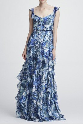 Blue Ruffle Sleeveless Printed Silk Gown N27G0753