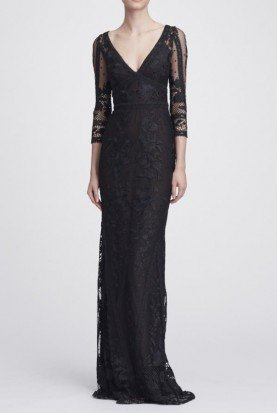 Black Long Sleeve V Neck Guipure Lace Gown