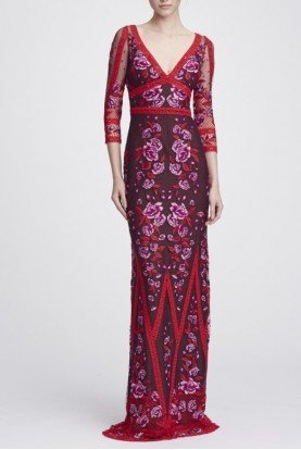 Wine Red Long Sleeve V Neck Lace Gown