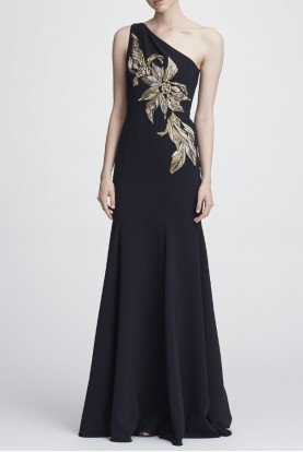 Marchesa Notte One Shoulder Stretch Crepe Black Evening Gown