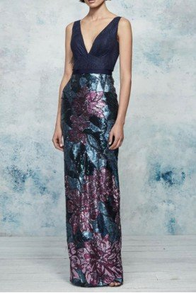 Marchesa Notte Navy Sleeveless Floral Sequin Evening Gown