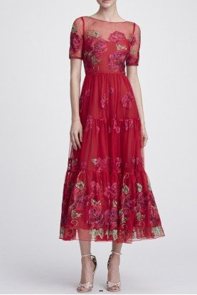Red Floral Short Sleeve Midi Tea Dress