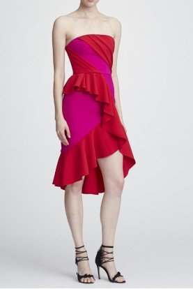 Marchesa Notte Fuchsia Pink Strapless Hi Lo Cocktail Dress