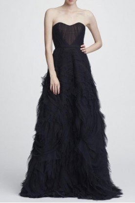 Marchesa Notte Black Strapless Textured A Line Tulle Gown