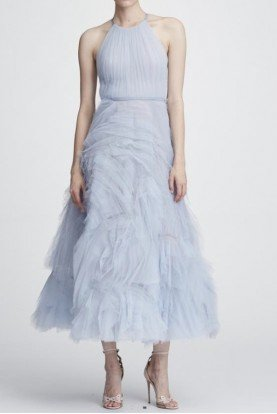 Light Blue Sleeveless Textured Tulle Midi Dress