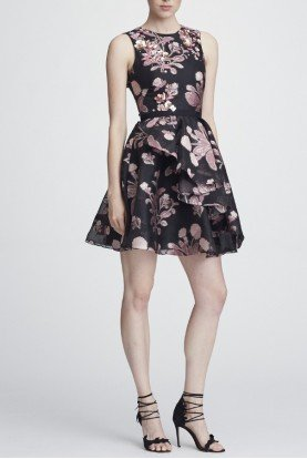 Marchesa Notte Black Sleeveless Floral A Line Cocktail Dress