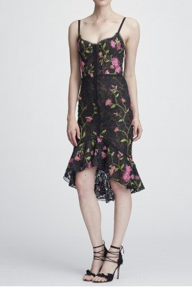 Marchesa Notte Black Sleeveless Floral Hi Lo Cocktail Dress