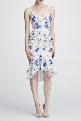 Ivory Sleeveless Floral Hi Lo Cocktail Dress