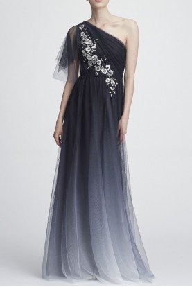 Marchesa Notte Black One Shoulder Embroidered Ombre Tulle Gown