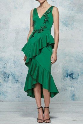 Emerald Green Sleeveless Embroidered Midi Dress