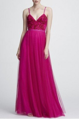 Fuchsia Pink Sleeveless Beaded Embroidered Gown